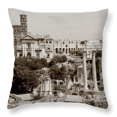 Antiquity Throw Pillow featuring the photograph Panoramic View Via Sacra Rome by Tom Wurl