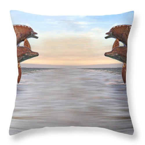 Dolphin Throw Pillow featuring the digital art Parallels by Betsy Knapp