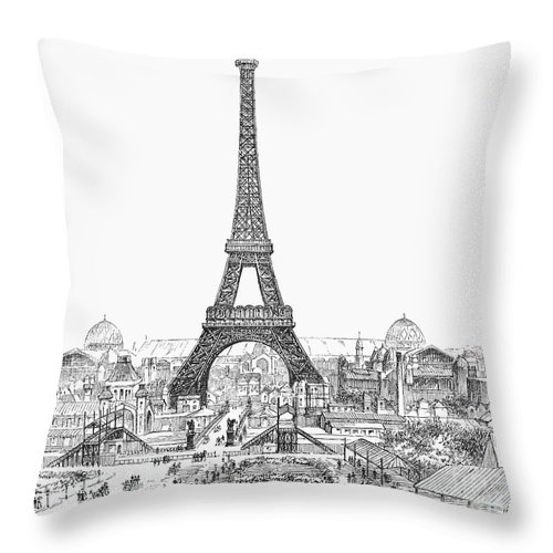 1889 Throw Pillow featuring the photograph Paris Exhibition, 1889 by Granger