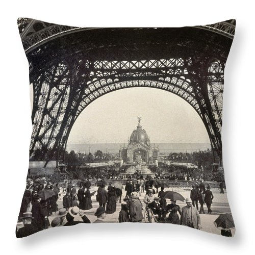 1889 Throw Pillow featuring the photograph Paris Exposition, 1889 by Granger