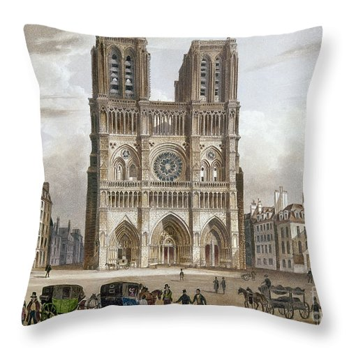1820s Throw Pillow featuring the photograph Paris: Notre Dame, C1820s by Granger