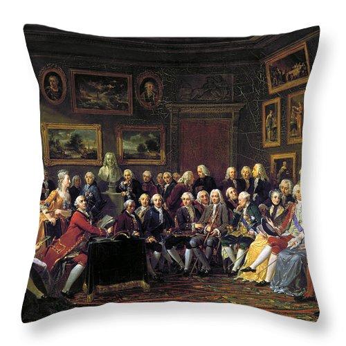 1755 Throw Pillow featuring the photograph Paris: Salon, 1755 by Granger
