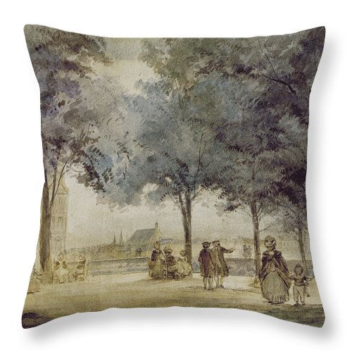 1786 Throw Pillow featuring the photograph Paris: Tuilerie Gardens by Granger