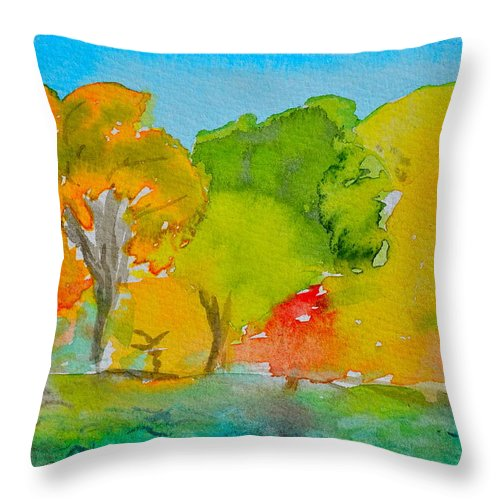 Park Throw Pillow featuring the painting Park Impression by Beverley Harper Tinsley
