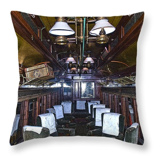 Sandy River & Rangeley Lakes Railroad Throw Pillow featuring the photograph Parlor Car - Artistic by Tim Mulina