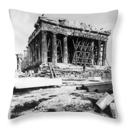 athens Greece Throw Pillow featuring the photograph Parthenon - C 1901 - Athens Greece by International Images