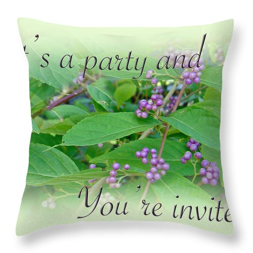 Party Throw Pillow featuring the photograph Party Invitation - General - American Beautyberry Shrub by Mother Nature