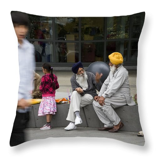 Seattle Throw Pillow featuring the photograph Passing Conversation by Lorraine Devon Wilke