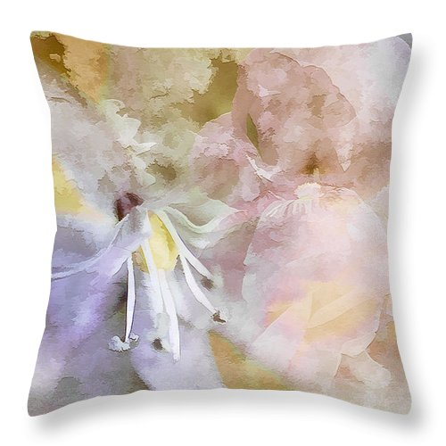 Florals Throw Pillow featuring the mixed media Pastel Floral by Elaine Manley