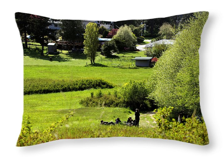Pastoral Landscape Throw Pillow featuring the photograph Pastoral Ease by Marie Jamieson