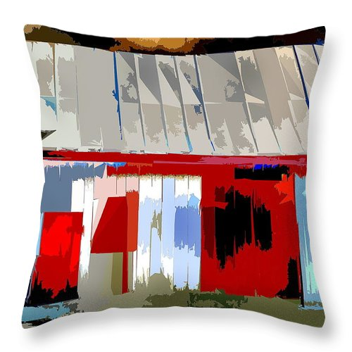 Barn Throw Pillow featuring the photograph Patchwork Barn by Burney Lieberman