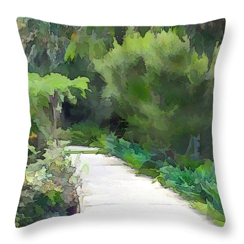 Throw Pillow featuring the painting Path Into The Green by Elaine Plesser
