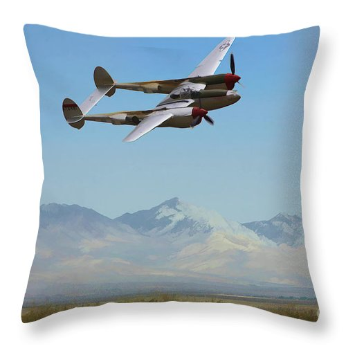 Lockheed Throw Pillow featuring the digital art Patroling by Tommy Anderson