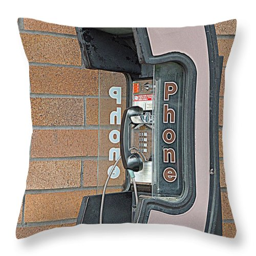 Telephone Throw Pillow featuring the photograph Pay Phone by Renee Trenholm