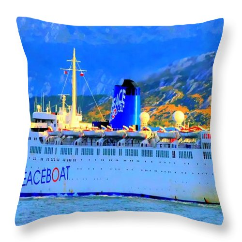 Boat Throw Pillow featuring the photograph Peace Boat Along South America Coastline by Tap On Photo