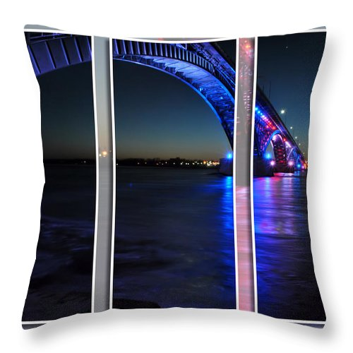 Throw Pillow featuring the photograph Peace Bridge 01 Triptych Series by Michael Frank Jr