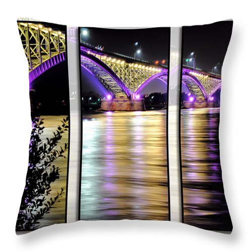 Throw Pillow featuring the photograph Peace Bridge 02 Triptych Series by Michael Frank Jr