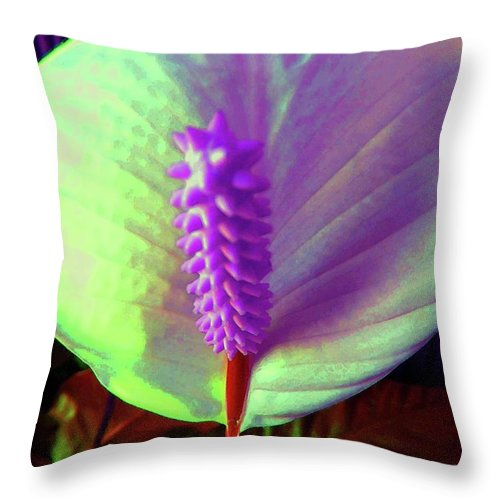 Flower Throw Pillow featuring the photograph Peace Lily by Susan Carella