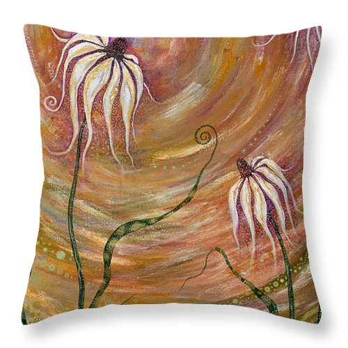Floral Throw Pillow featuring the painting Peace Of Mind by Tanielle Childers