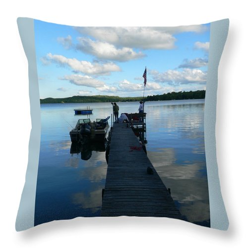 Lake Throw Pillow featuring the photograph Peace On The Lake Dock by Jeff Lowe