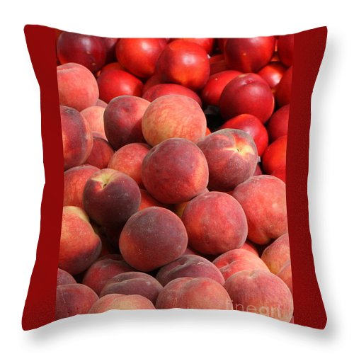 Peaches Throw Pillow featuring the photograph Peaches And Nectarines by Carol Groenen