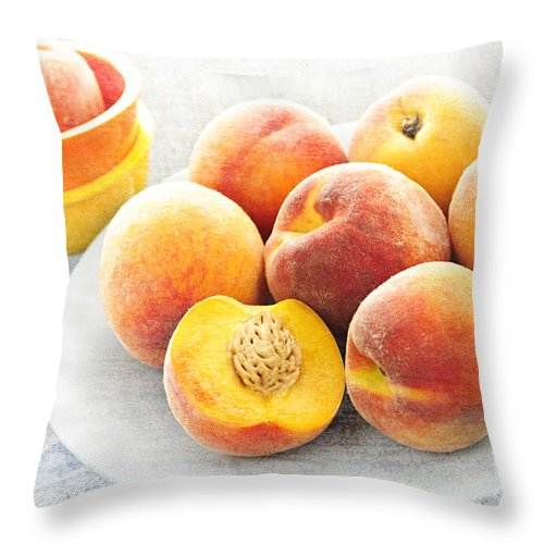 Peaches Throw Pillow featuring the photograph Peaches On Plate by Elena Elisseeva