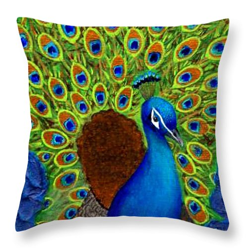 Peacock Print Throw Pillow featuring the painting Peacock's Delight by The Art With A Heart By Charlotte Phillips