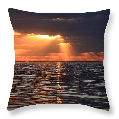 North Carolina Outer Banks Throw Pillow featuring the photograph Peaking Through The Clouds by Adam Jewell