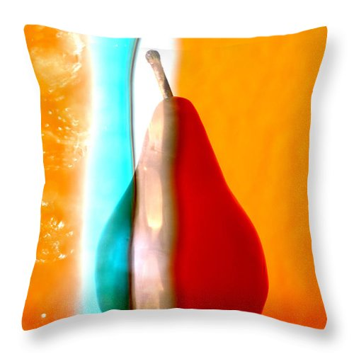 Bright Throw Pillow featuring the photograph Pear On Ice 01 by Carol Leigh