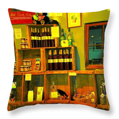 Wine Throw Pillow featuring the photograph Pear Wine And Jam by Jeff Swan