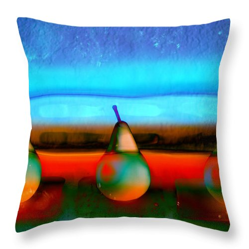 Bright Throw Pillow featuring the photograph Pears On Ice 01 by Carol Leigh