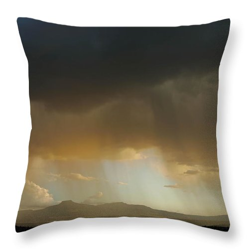 Abiquiu Throw Pillow featuring the photograph Pedernal Peak, Seen In The Distance by Ralph Lee Hopkins