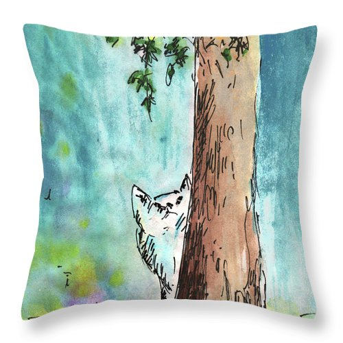 Animals Throw Pillow featuring the painting Peeping Tom by Miki De Goodaboom