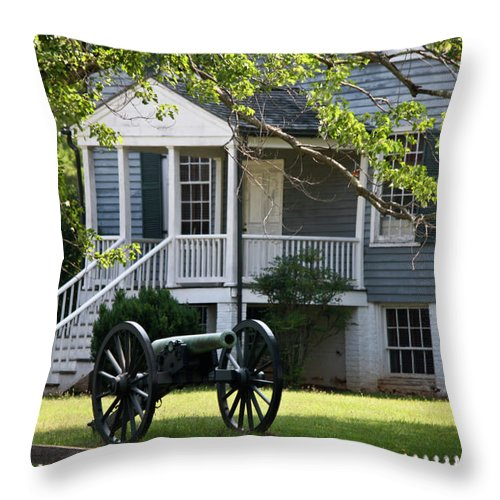 Appomattox Throw Pillow featuring the photograph Peers House And Cannon Appomattox Court House Virginia by Teresa Mucha