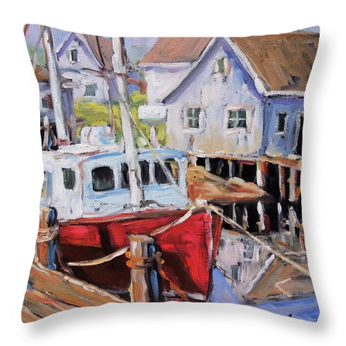 Art Throw Pillow featuring the painting Peggy S Cove 02 By Prankearts by Richard T Pranke