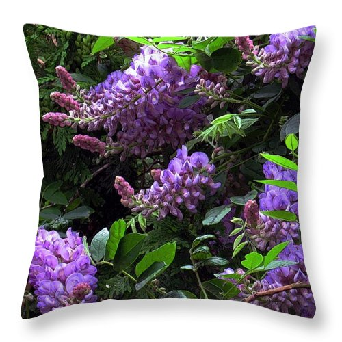 Flowers Throw Pillow featuring the digital art Peggy's Whisteria by Dale  Ford