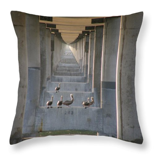 Architecture Throw Pillow featuring the photograph Pelican Perch With Seven Mile Perspectives by Kimberly Mohlenhoff