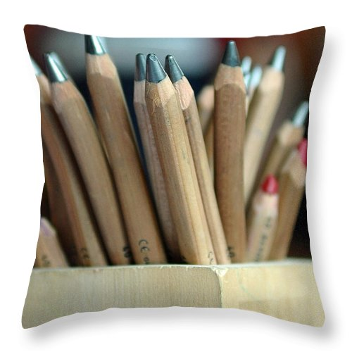 Pencils Throw Pillow featuring the photograph Pencils by Lisa Phillips