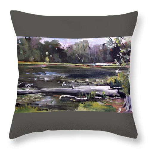 Pequot Pond Throw Pillow featuring the painting Pequot Pond by Nancy Griswold