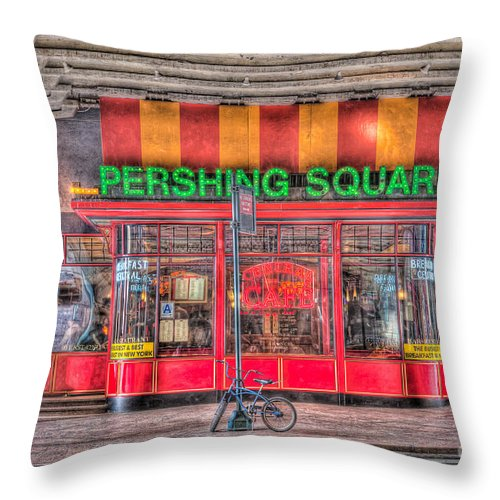 Clarence Holmes Throw Pillow featuring the photograph Pershing Square Central Cafe I by Clarence Holmes