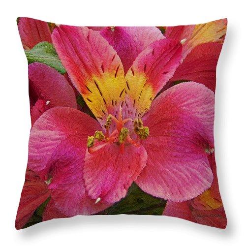 Peruvian Lilies Throw Pillow featuring the photograph Peruvian Lilies by Ernie Echols