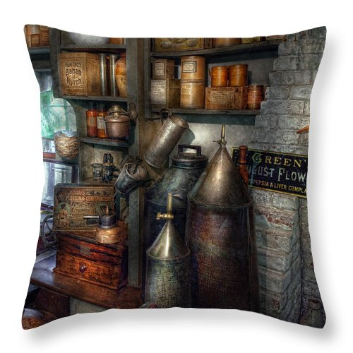 Doctor Throw Pillow featuring the photograph Pharmacy - Tools - August Flowers by Mike Savad