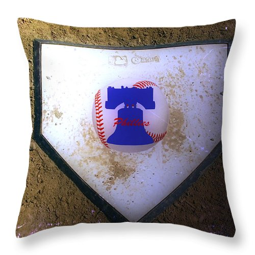 Phillies Throw Pillow featuring the photograph Phillies Home Plate by Bill Cannon