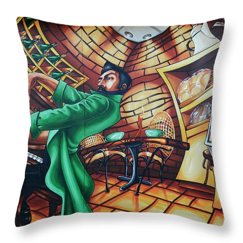 Graffiti Throw Pillow featuring the photograph Piano Man 2 by Bob Christopher