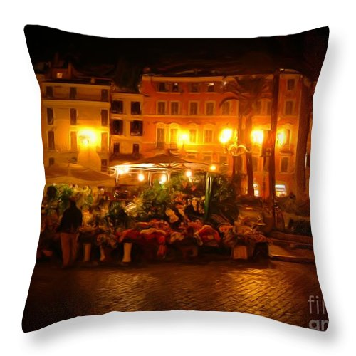 Flowers Throw Pillow featuring the photograph Piazza Flower Vendor by Michael Garyet