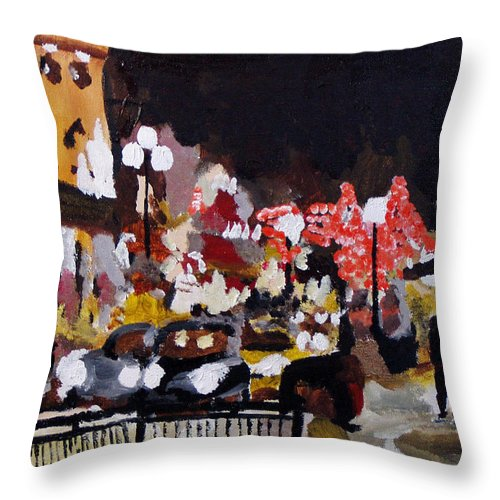 London Throw Pillow featuring the painting Piccadilly Night by Steve Teets