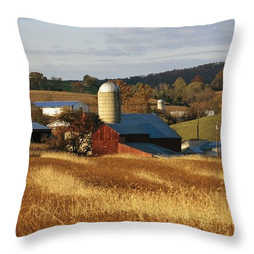 North America Throw Pillow featuring the photograph Picturesque Farm Photographed by Raymond Gehman