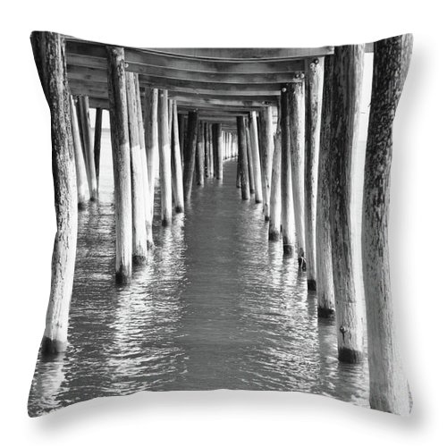 Ocean Throw Pillow featuring the photograph Pier In by Tazz Anderson