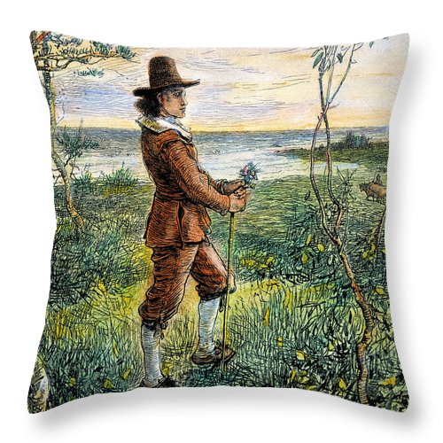 1620s Throw Pillow featuring the photograph Pilgrim, 1620s by Granger