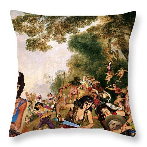 Watteau Throw Pillow featuring the digital art Pilgrimage To The Isle Of Dangerous Women by Barry Kite